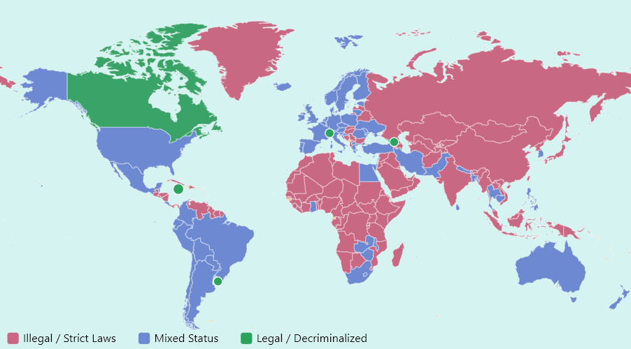 cannabis legality world map